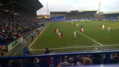 Gomis causes the Tranmere backline a few problems.