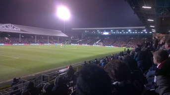 Sunderland's away support and the old pavilion in the distance.