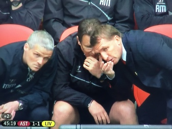 Brendan Rodgers offers to get the halftime Bovrils in.