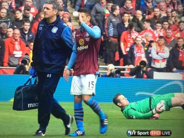 Shay Given celebrates early with the backward worm. Classic.