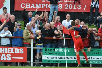 The Ultras celebrate the goal with Luccock (image copyright and courtesy of Craig McVay/North Shields FC)