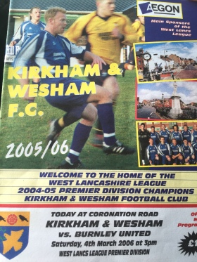 An old matchday programme from the Kirkham and Wesham days. Useful reading during a largely action-free first half.
